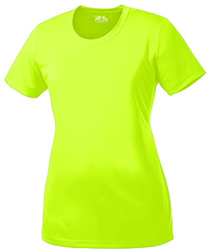 DRI-Equip Women's All Sport Neon Color High Visibility Athletic T-Shirts-S
