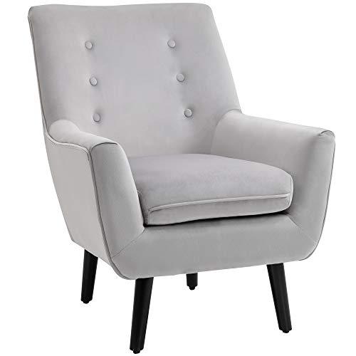 HOMCOM Gepolsterter Sessel Eleganter Retro-Stuhl für Wohnzimmer Schlafzimmer, Polyester, Schaumstoff, Kautschukholz, Grau, 72,5x78,5x91,5 cm