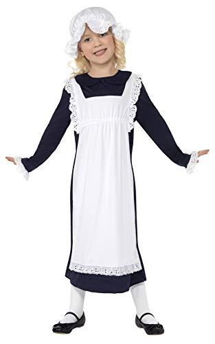 Smiffys-33714L Disfraz de Chica pobre Victoriana, Blanca, con Vestido con Delantal y Gorro de v, Color, L-Edad 10-12 años (Smiffy'S 33714L)