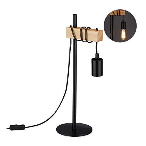 Relaxdays Lámpara de Mesa Industrial, Vintage Nachttischlampe Retro, E27, Madera, Metal, HBT 46 x 17,5 x 14 cm, Natural, negro/beige