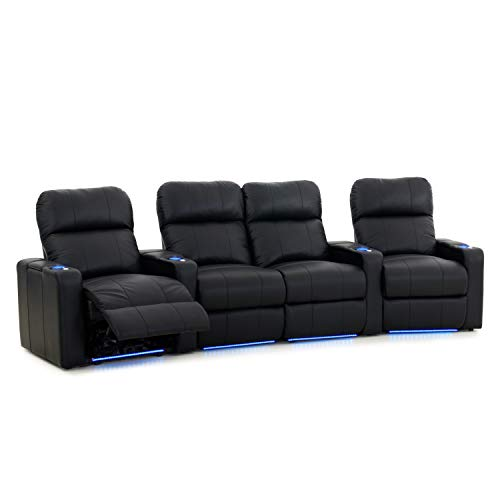 Octane Seating Turbo XL700 Home Theater Seats Black Top-Grain Leather - Power Recline - Storage Arms - Lighted Cups & Baserail - Memory Foam - Curved Row 4 w/Loveseat