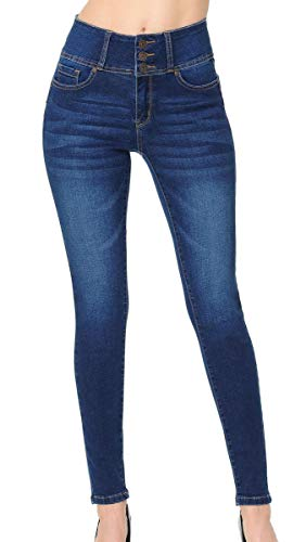 Wax Women's Juniors 'Butt I Love You' Push-Up High-Rise 3 Button Skinny Jeans, Medium, 14