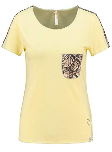 KEY LARGO Damen T-Shirt Emilia-Round mit Rundhals-Ausschnitt und Kleiner Brusttasche im Snake-Print (M, Vanille)
