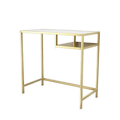 FUFU Mesas auxiliares Tocador con la silla y el espejo LED, Vanidad establece mármol constituyen las tablas pasillo lateral del metal del oro Mesa consola de tramas de Sala Sala Dormitorio en 2 tamaño