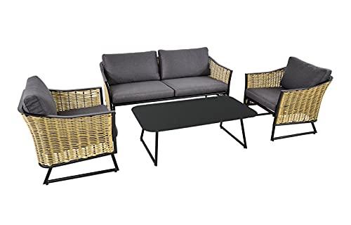 lifestyle4living Loungemöbel Set (Premium) aus Aluminium, schwarz, wetterfest, 4-teilig | Modernes Garten Lounge Set mit Aluminiumgestell für 4 Personen