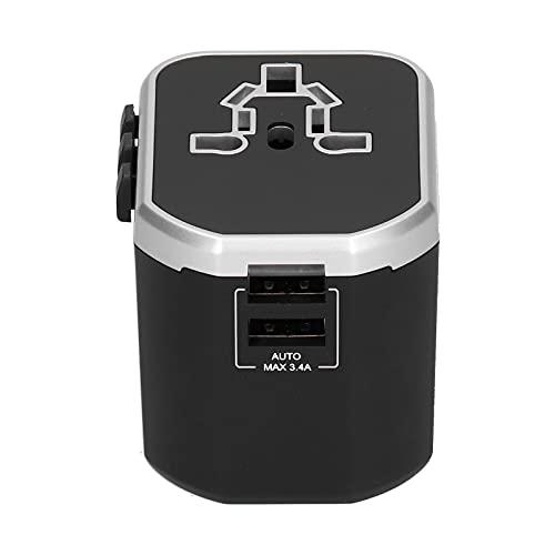 Zerodis Adaptador de Corriente de Viaje, Adaptador de Viaje Universal Un Adaptador de Enchufe de Cargador de Pared Internacional con Interfaz USB para EE UU UE Reino Unido AUS(Plata)