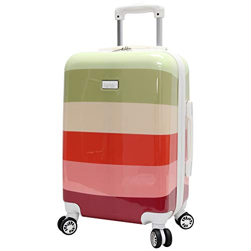 Nicole Miller New York Rainbow Luggage Collection - Lightweight 28 Inch (ABS+PC) Hardside Suitcase - Durable Large Checked Bag with 8-Rolling Spinner Wheels (28in, Rainbow Olive)