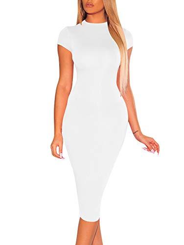 XXTAXN Women Sexy Bodycon Cap Sleeve Elegant Party Midi Club Dress,White,Large
