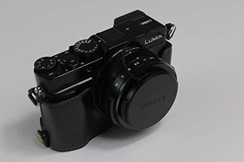 LX100 II Case, BolinUS Handmade PU Leather Half Camera Case Bag Cover Bottom Opening Version for Panasonic Lumix DC-LX100 II with Hand Strap (Black)