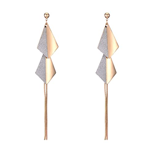 SeniorMar-UK S925 Silberne Nadel Geometrisches Temperament Diamantförmige Quaste Ohrringe Modische All-Match Bungee Diamant Ohrringe Gold
