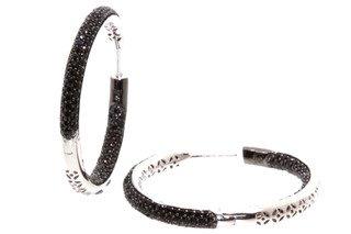 Födelsesten juveler sterling silver gångjärn ring öra ringar mikro pave set inuti och utomhus med 3 rader svart C Z, 33 mm runda. Säkert pressmeddelande lås.