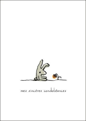 In 5-delige set: Mes sincères condoléances, Franse rouwkaart met druivendige haasjes