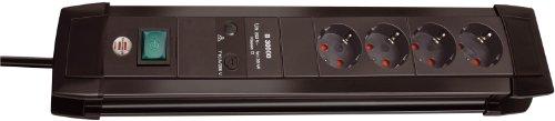 Brennenstuhl Premium-Line, Steckdosenleiste 4-fach mit Überspannungsschutz bis zu 30.000 A (1,8m Kabel und mit Schalter, Made in Germany) schwarz