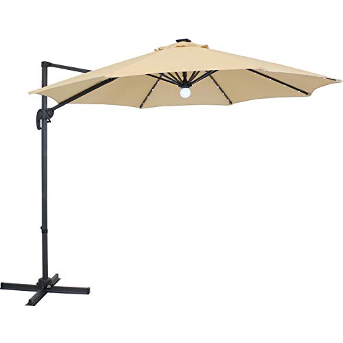 Sunnydaze Outdoor Cantilever Offset Patio Umbrella with Solar LED Lights and 360-Degree Rotation - Outside Polyester Shade and Steel Cross Base - Backyard Accessory - Beige