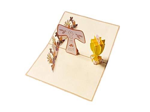 Rf distribution biglietto di auguri con origami, la mia prima comunione con calice, oro