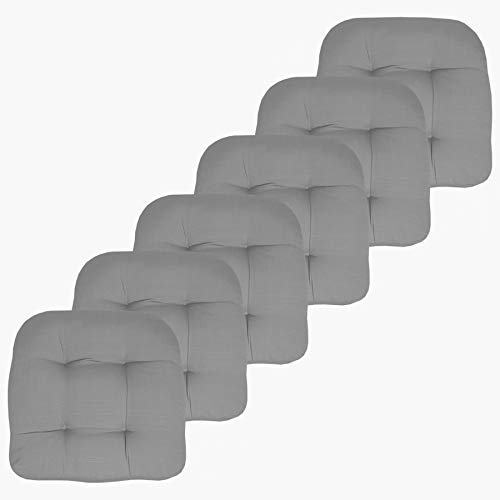 Sweet Home Collection Patio Cushions Outdoor Chair Pads Premium Comfortable Thick Fiber Fill Tufted 19' x 19' Seat Cover, 6 Count (Pack of 1), Silver