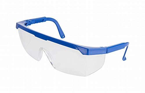 ADGO Gafas de Seguridad de Trabajo Anti-salpicaduras Ajustable, Lentes Transparentes y Marco Azul, Protección para los Ojos, Para Trabajos de Construcción Renovación, Resistente a los Arañazos ✅