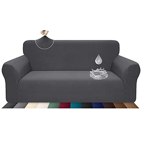 Luxurlife Housse de canapé stretch, imperméable et résistante aux éraflures pour canapé 3 places Motif élégant Avec rouleaux de mousse antidérapante (canapé 3 places, gris)