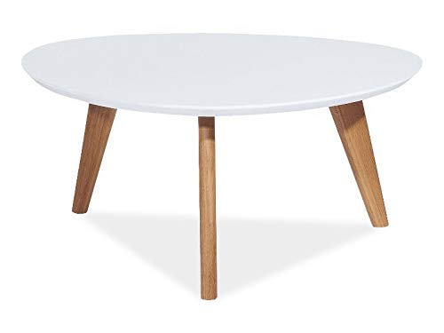 Jadella salontafel 'Milan L III ' bijzettafel rond 80x80 houten tafel mat gelakt driehoek wit eiken