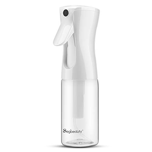 Fine Mist Clear Bottles, Segbeauty 5.4oz Continuous Plastic Spray Squirt Bottle, 160ml Refillable Empty Sprayer for Curly Hair, Curler Keeper for Salon Barber Hairstyling, Houseplant Mister, Cleaning