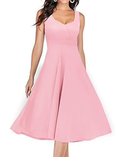 Dresstells 1950er Retro Vintage Rockabilly Kleid V-Ausschnitt Midi Hochzeit Cocktail festliches Kleid Pink M