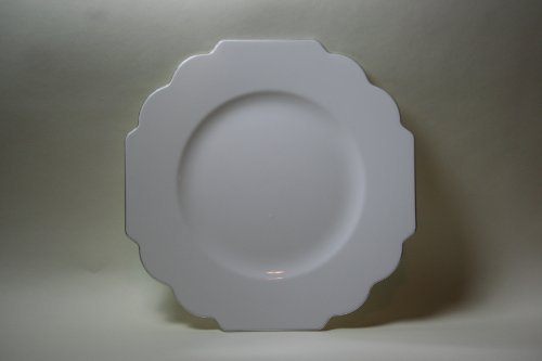 Silver Spoons & More Lot de 10 assiettes à dîner à bords argentés Motif géométrique baroque Blanc