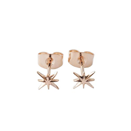 HONEYCAT Celestial Starburst Studs in Gold, Rose Gold, or Silver   Minimalist, Delicate Jewelry (Rose Gold)