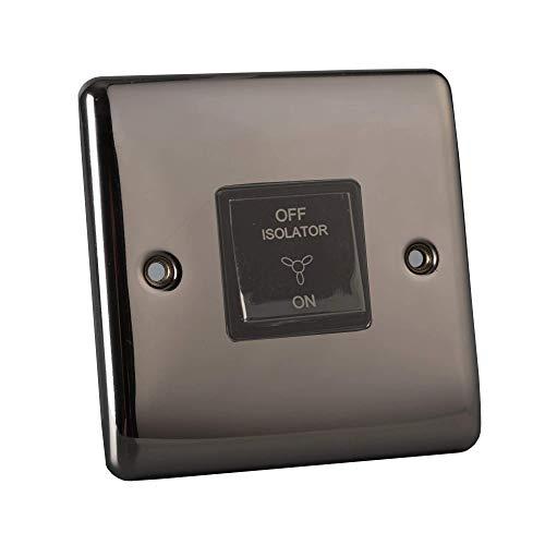 Pentire Interruptor de ventilador de 3 polos, níquel negro, interruptor de metal