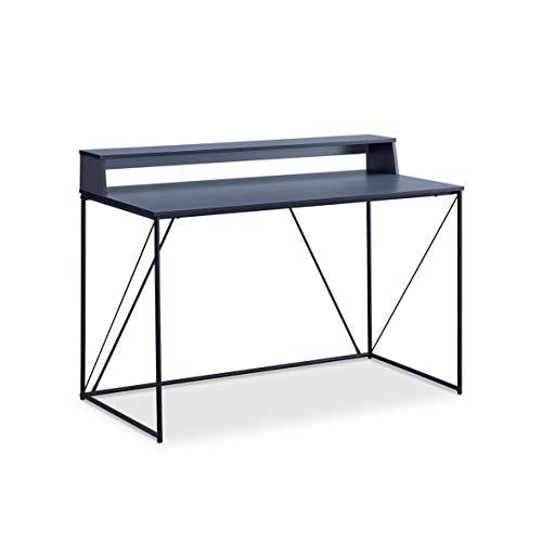 Walter Bureau Design Industriel Laqué Noir Métal et MDF avec Etagère 120 x 63 x 89-75 cm