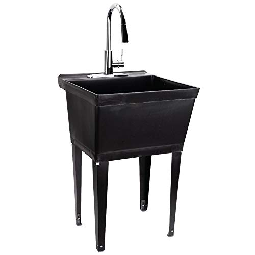JS Jackson Supplies Black Utility Sink Laundry Tub with High Arc Chrome Kitchen Faucet, Pull Down Sprayer Spout, Heavy Duty Slop Sinks for Basement, Garage, or Shop, Free Standing Wash Station