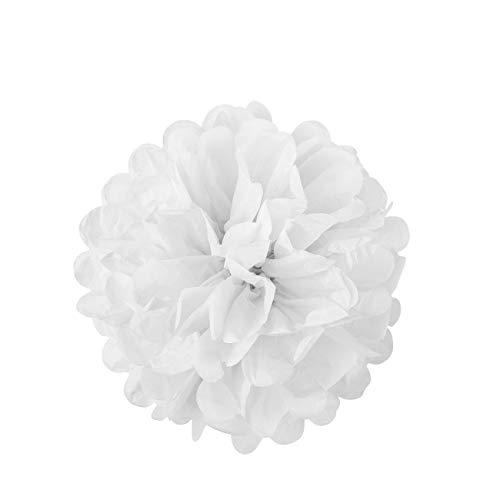 LIHAO 10x Pompom Papier Deko Seidenpapier hängende Blumeball Pompons Papierblumen für Ostern Valentinstag Hochzeit Graduierung Taufe Kinder Geburtstagsparty 25cm Weiß