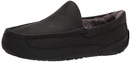UGG mens Ascot Slipper, Black Matte Leather, 10 US