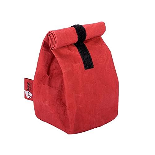 Kontor28 - Borsa per il pranzo Stuff Lunch M, sostenibile borsa per il pranzo da ufficio con chiusura Materiale papyr resistente lavabile in pelle vegana realizzata a mano in Baviera, colore: rosso