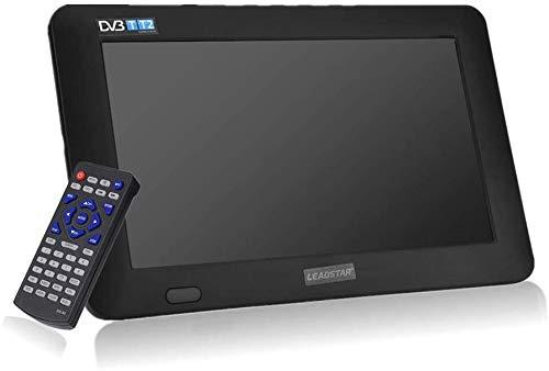 TV portatile da 11.6 pollici, TV LED piccola con DVB-T / T2 DVB-T2 Due altoparlanti TV digitali con batterie ricaricabili da 1500 mAh e telecomando per camera da letto, cucina, caravan, auto(Nero)