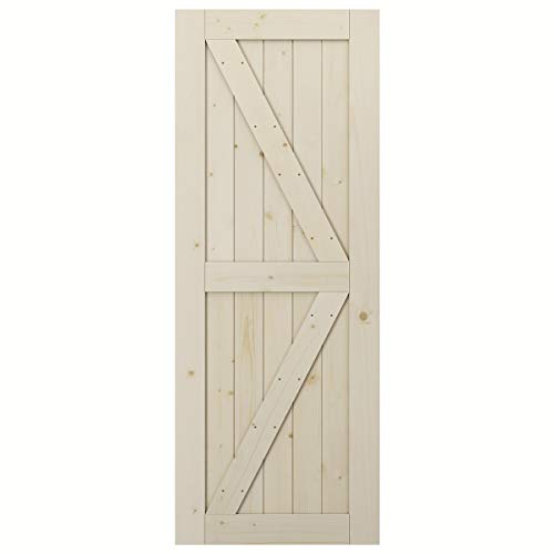 SmartStandard 32in x 84in Sliding Barn Wood Door Pre-Drilled Ready to Assemble, DIY Unfinished Solid Spruce Wood Panelled Slab, Interior Single Door Only, Natural, K-Frame (Fit 6FT Rail)