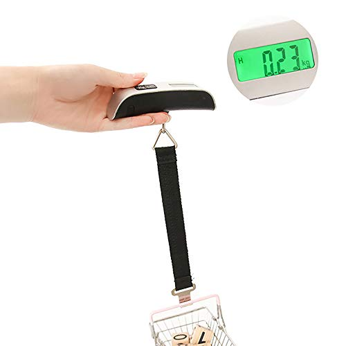 Luggage Scale Portable Digital Scale Electronic Suitcase Scale Hanging Scales Luggage Weighing Scale 110 Pound / 50 Killogram with Backlit with Tare Function Lightweigh for Travel