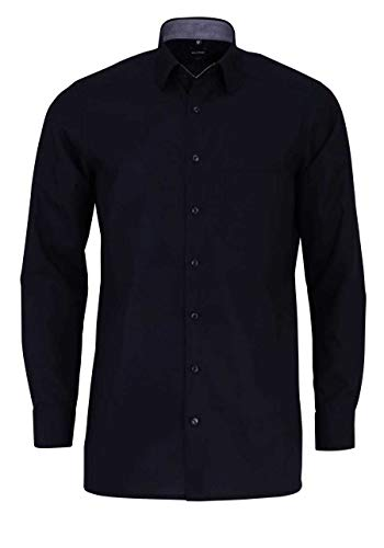 Olymp Luxor modern fit Hemd Langarm Under Button Down Kragen schwarz Größe 45