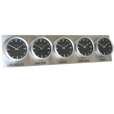 Horl. Fuseau Horaire 5 Cadrans Acier Roco Verre (H25cm x L99cm x D6cm Noir Suisse)