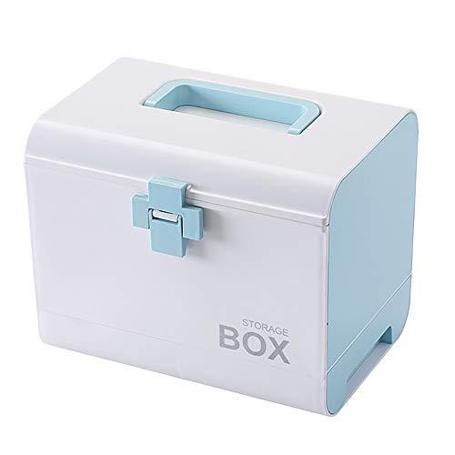 aoory Multifunktionale Medizintruhe Medikamentenaufbewahrung Erste-Hilfe-Set Medizinbox für Haushalt blau
