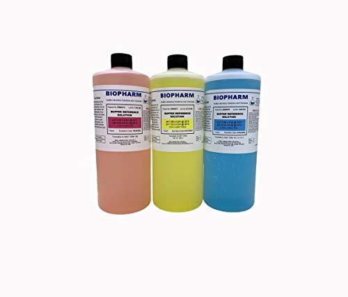 Biopharm pH Buffer Calibration Solution 3-Pack | 1 Quart Bottle Each | pH 4, pH 7 & pH 10 | NIST Traceable Reference Standards for All pH Meters