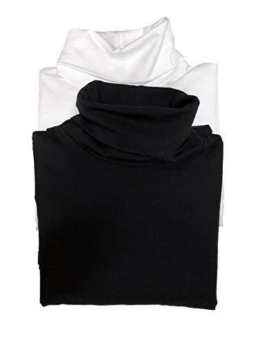 Felina | Long Sleeve Turtleneck 2-Pack | Loungewear | Sleepwear (Large, Black White)