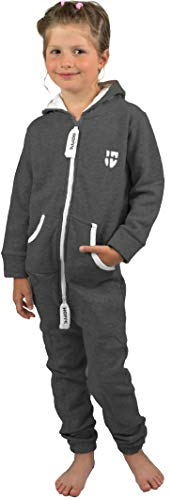 Gennadi Hoppe Kinder Jumpsuit Overall Jogger Trainingsanzug Mädchen Anzug Jungen Onesie,dunkel grau,9-10 Jahre