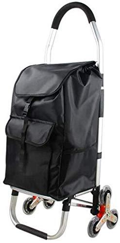 N/Z Equipo para el hogar Carrito de Mano portátil Portaequipajes Carrito de Compras Bolsa de Almacenamiento de Viaje Oxford portátil Plegable 33 * 28 * 103 cm (Color: Negro Tamaño: 6 Rondas)