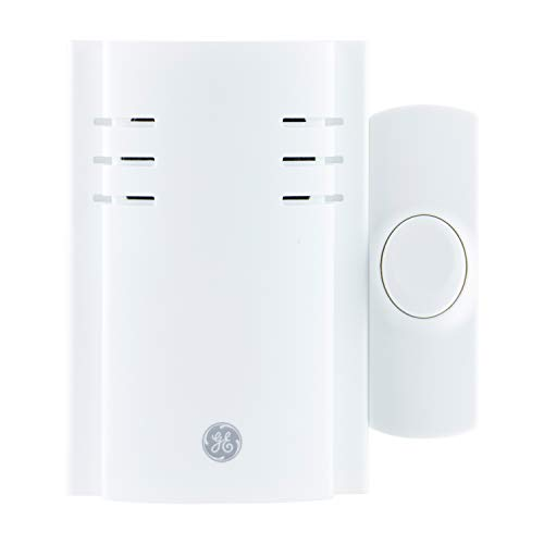 GE Wireless Doorbell Kit, 2 Melodies, 1 Push Button, 4 Volume Levels, 150 Ft. Range, White, 19298, Plug-In Receiver