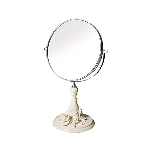AWJ Beauty Rose Decorated Mirrorcreative Dressing Mirror Espejo de Maquillaje de baño de Doble Cara Pintado a Mano Tallado Redondo Multicolor multifunción, Azul