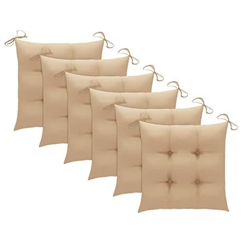 vidaXL 6X Cojines de Silla Asiento Tumbonas Patio Terraza Exterior Acolchado Almohadilla Cómoda Práctico Decoración Tela Beige 50x50x7 cm