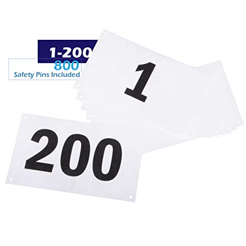 Safety Pins Not Included Clinch Star Running Bib Replacements Large Numbers for Marathon Races and Events Tyvek Tearproof and Waterproof 6 X 7.5 Inches
