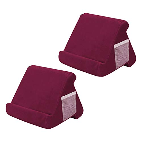 CUTICATE 2 X Soft Pillow Stands for Tablet Book Reader Holder Rest Cushion Red