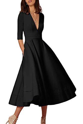 YMING Damen Elegante Midikleid Halber Ärmel CocktailkleidTief V Ausschnitt A-Linie Kleid Abendmode Schwarz XL DE 42 44