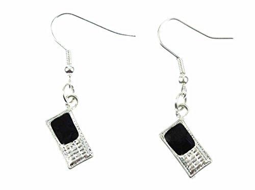 Miniblings Handy Ohrringe Hänger Smartphone Telefon Mobile Phone schwz silber - Handmade Modeschmuck I Ohrhänger Ohrschmuck versilbert